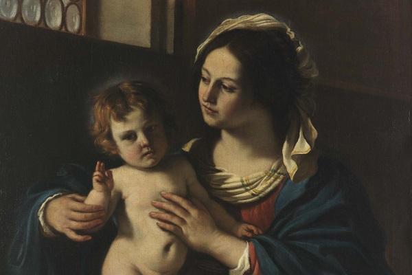 Il Guercino, Madonna con Bambino benedicente, 1629 (part.)