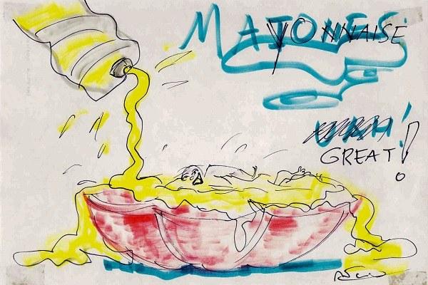 Il cibo nei disegni di Federico Fellini, maionese