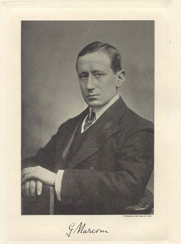 Guglielmo Marconi, portrait with signiture